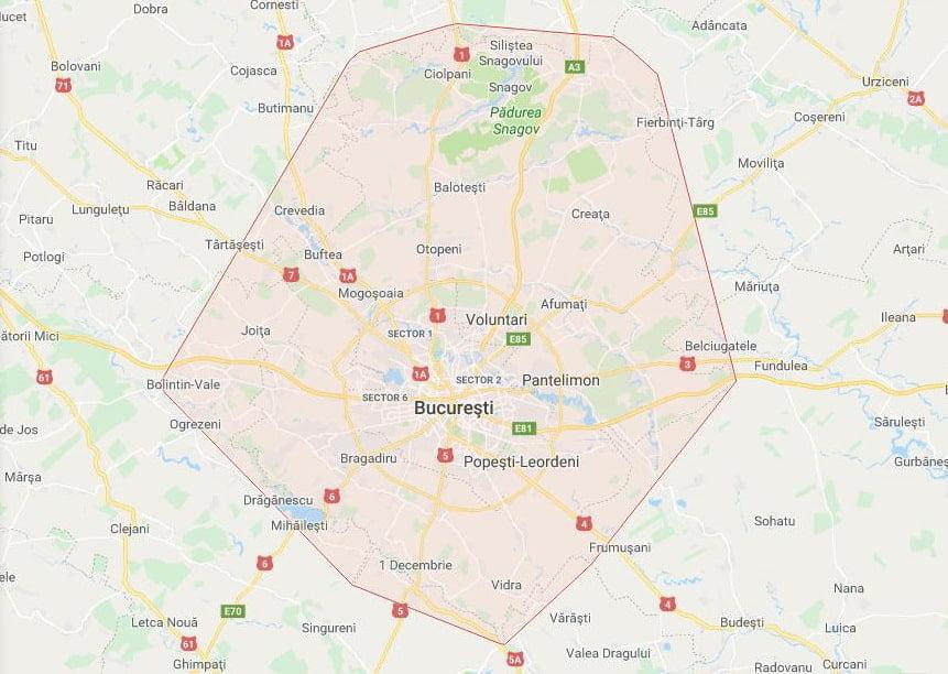 Zonele de acoperire pentru programari Dietalia la domiciliu (harta)
